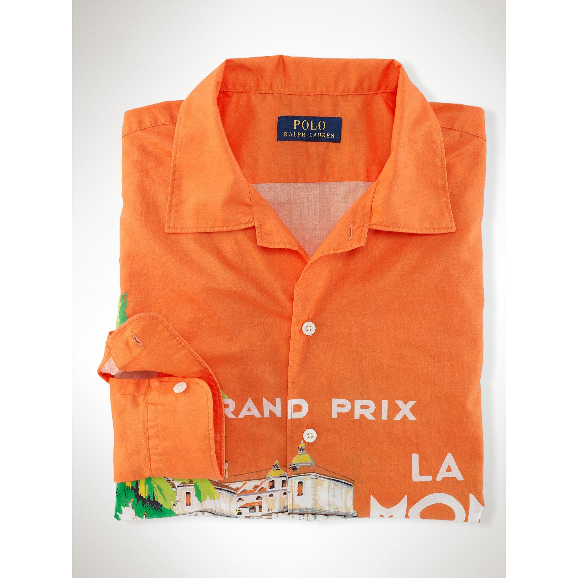 458bed00eec Lyst - Ralph Lauren Race Car–Print Camp Shirt in Orange for Men