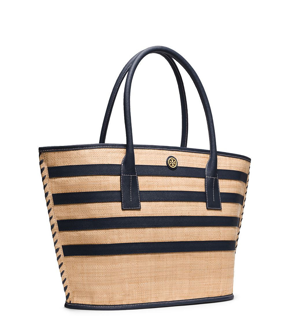 101ba9b903ae Tory Burch Stripe Straw Large Tote in Natural - Lyst