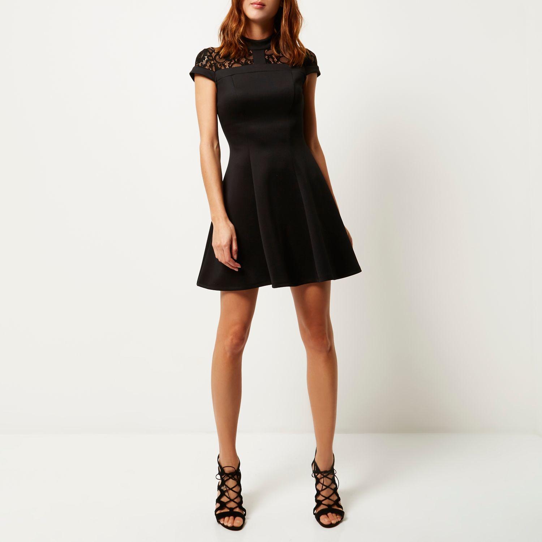 Black lace panel scuba skater dress