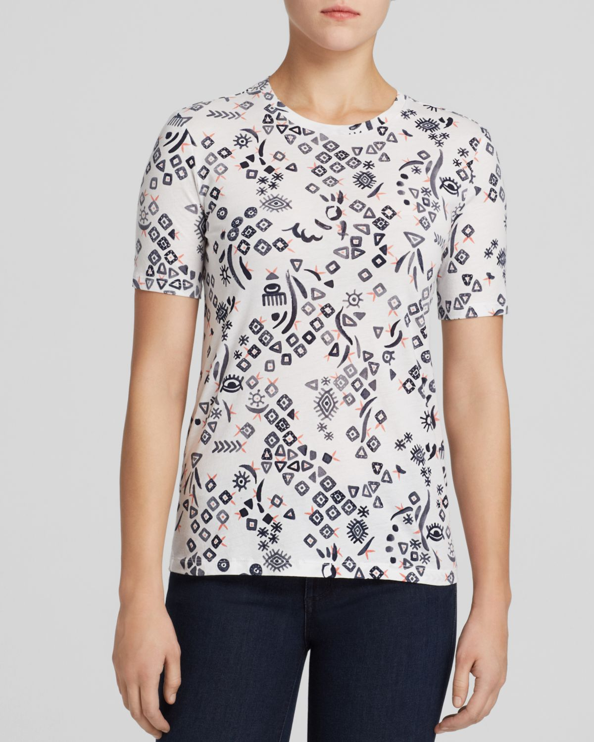 Lyst tory burch printed t shirt in white for Tory burch t shirt