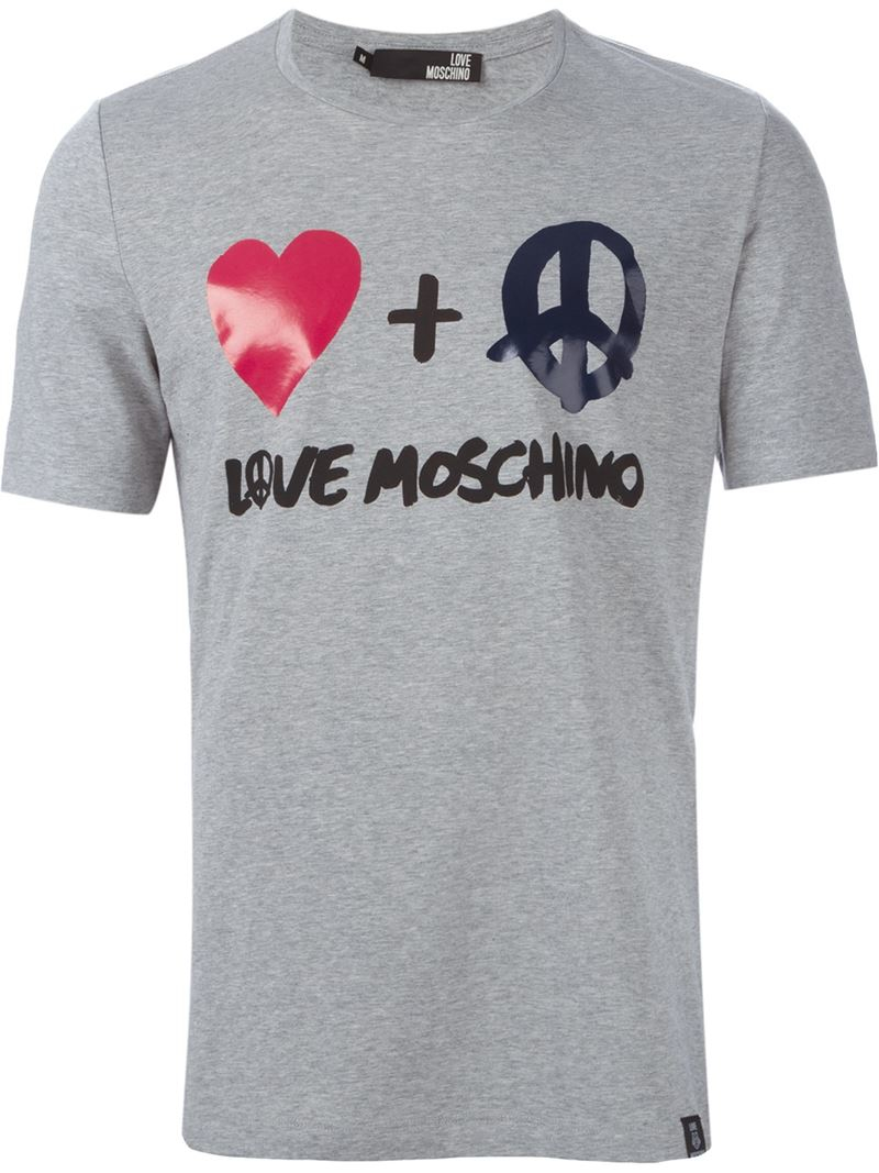lyst love moschino logo print t shirt in gray for men. Black Bedroom Furniture Sets. Home Design Ideas
