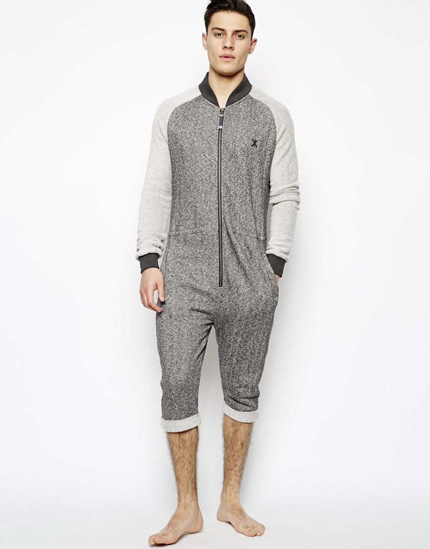 Onepiece chill college jumpsuit onesie in gray for men lyst for Mens dress shirt onesie