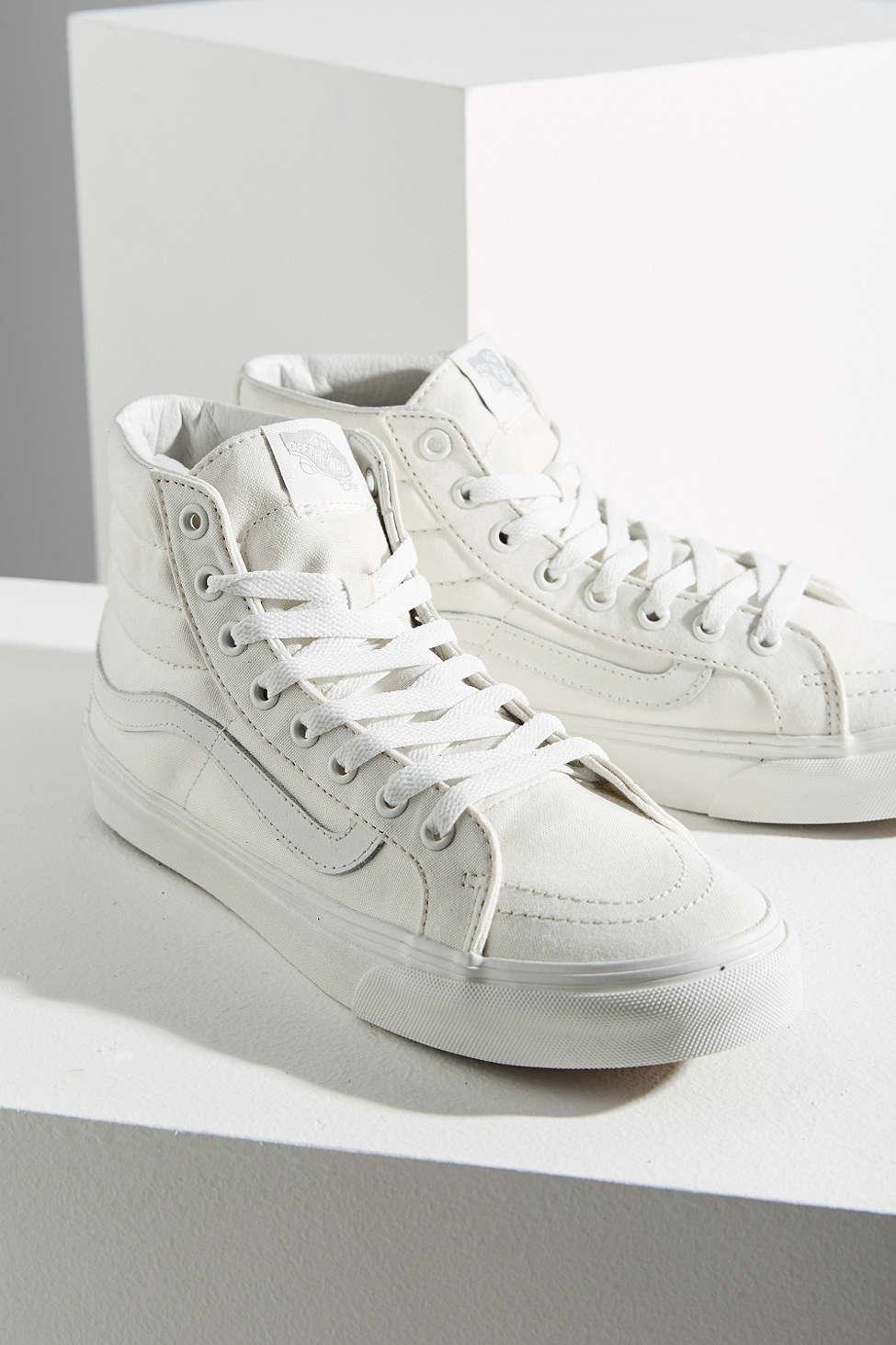 lyst vans blanc sk8 hi slim sneaker in natural for men. Black Bedroom Furniture Sets. Home Design Ideas
