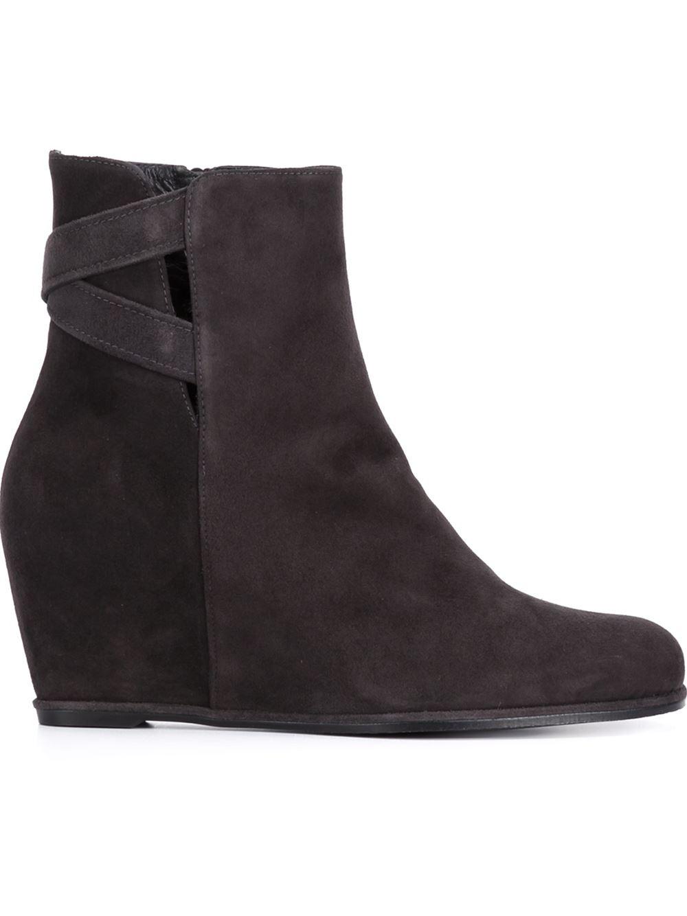 stuart weitzman fitness wedge boots in brown lyst