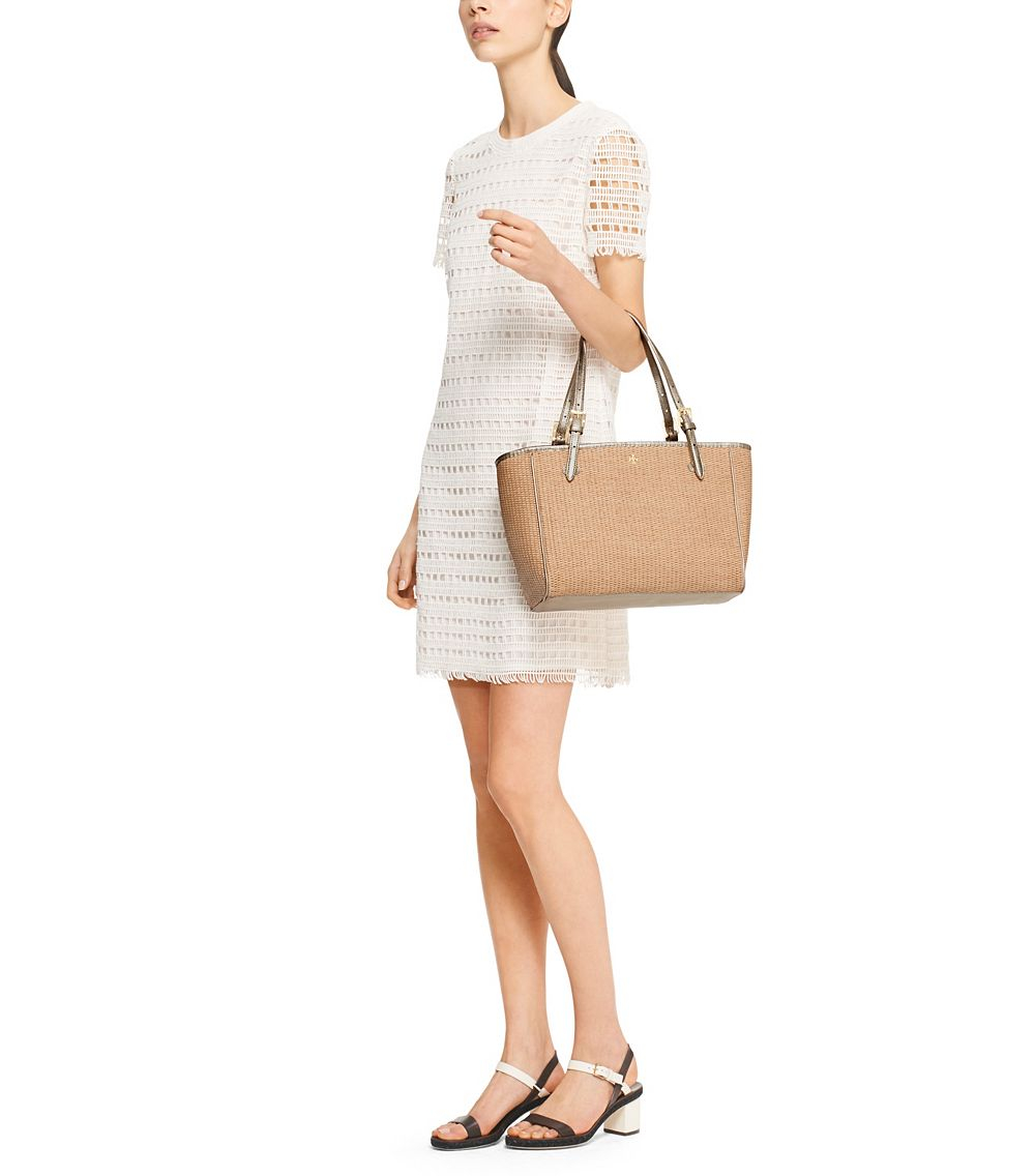 5989ce064067 Lyst - Tory Burch York Straw Small Buckle Tote in Natural