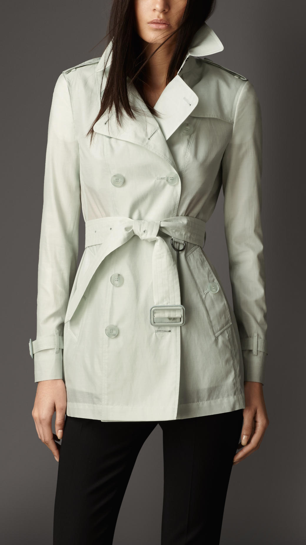 Burberry Short Cotton Silk Trench Coat In Green (light