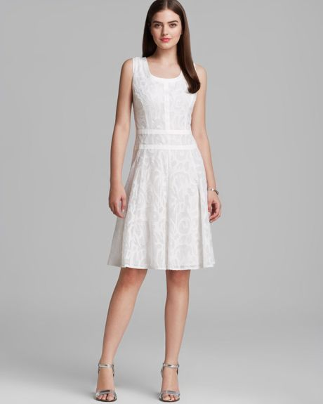 Anne Klein Dress Sleeveless Jacquard Fit And Flare In