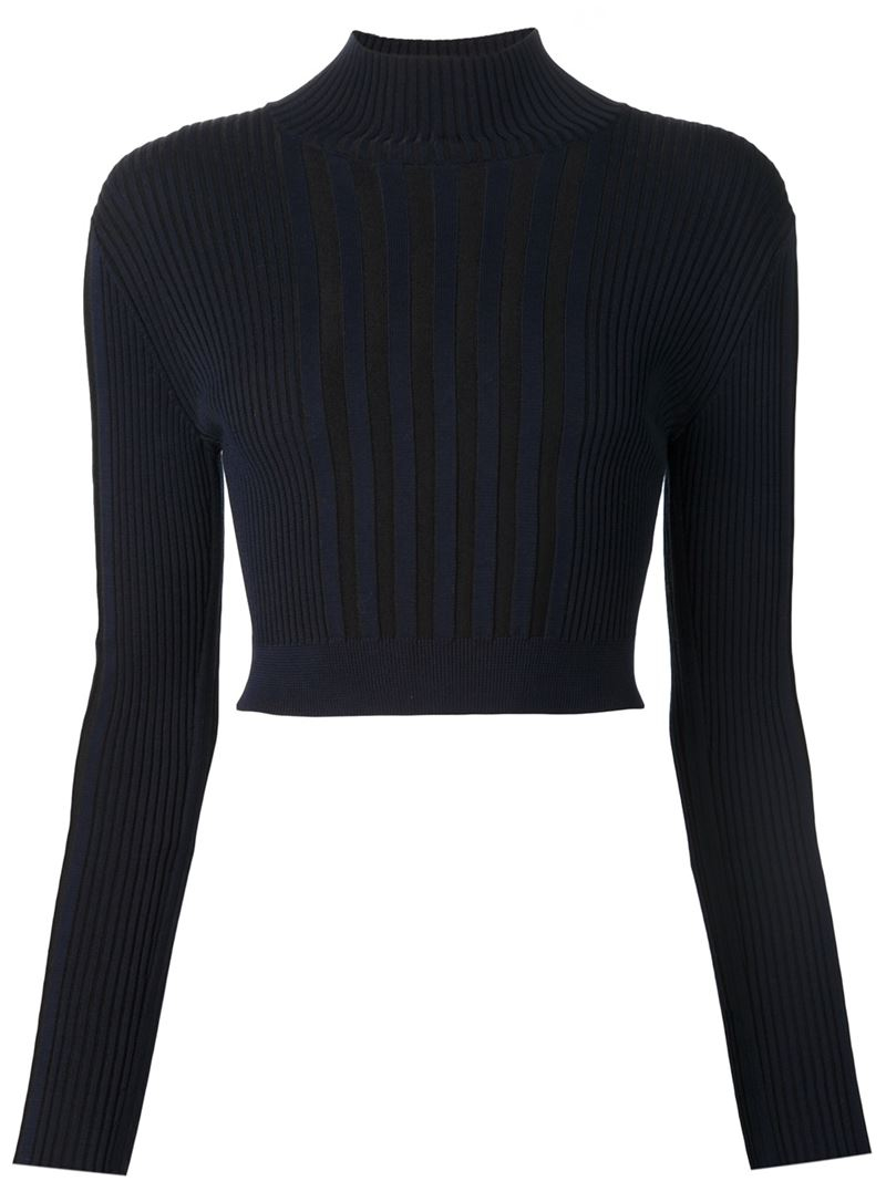 Ohne titel Cropped Ribbed Sweater in Blue | Lyst