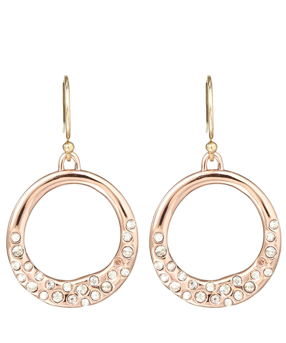 Alexis Bittar Rose Goldtone Pave Circle Earrings In