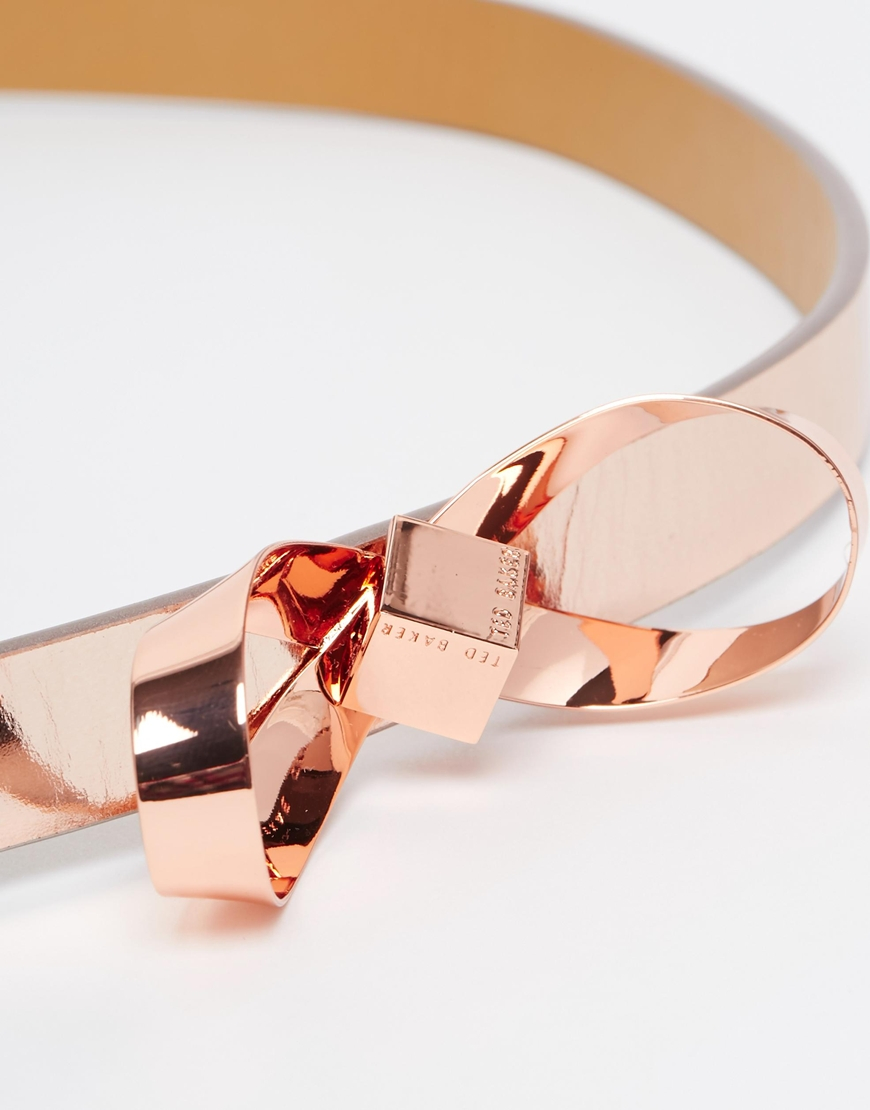 ad474b081 Lyst - Ted Baker Mirrored Loop Bow Belt in Metallic