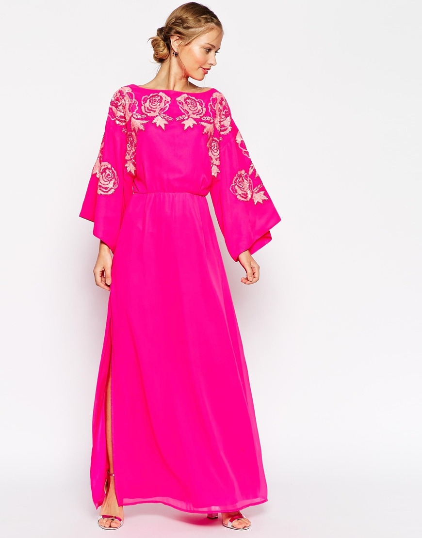 Asos Kimono Bright Floral Bodice Maxi Dress in Pink   Lyst