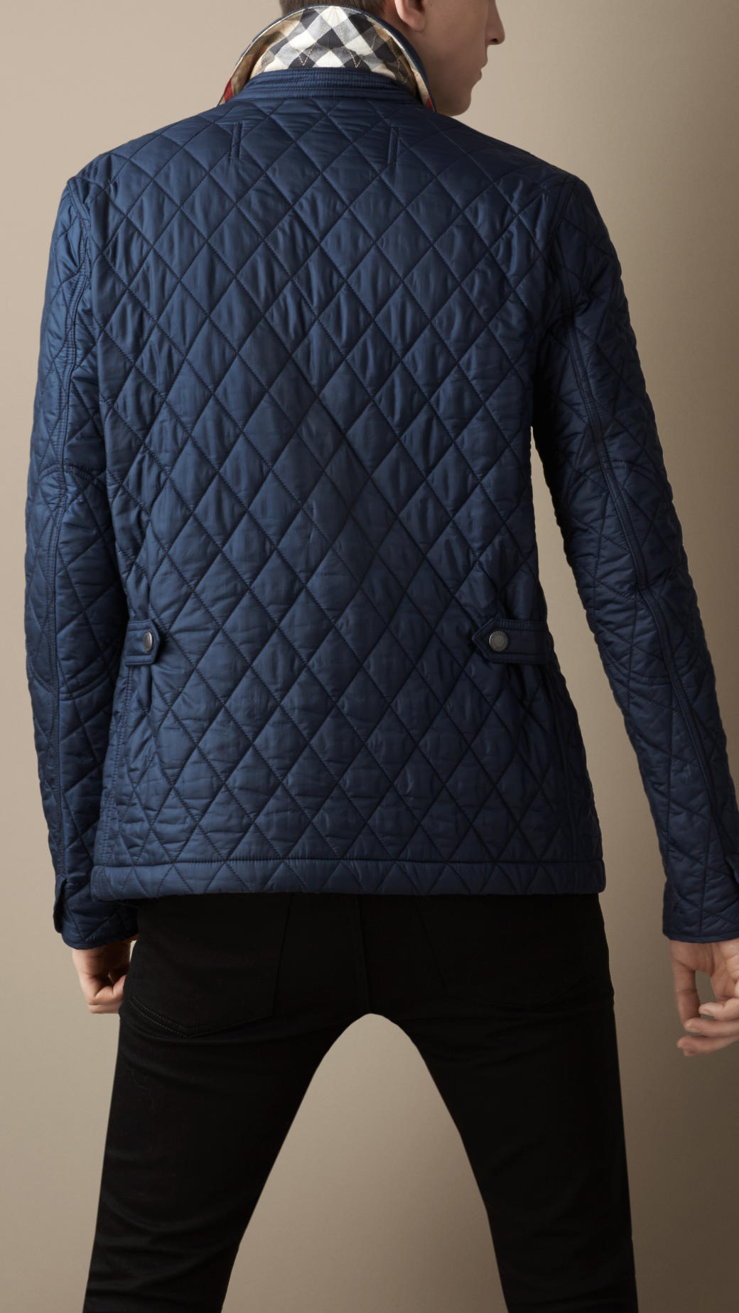 Burberry Diamond Quilted Jacket In Blue For Men Lyst