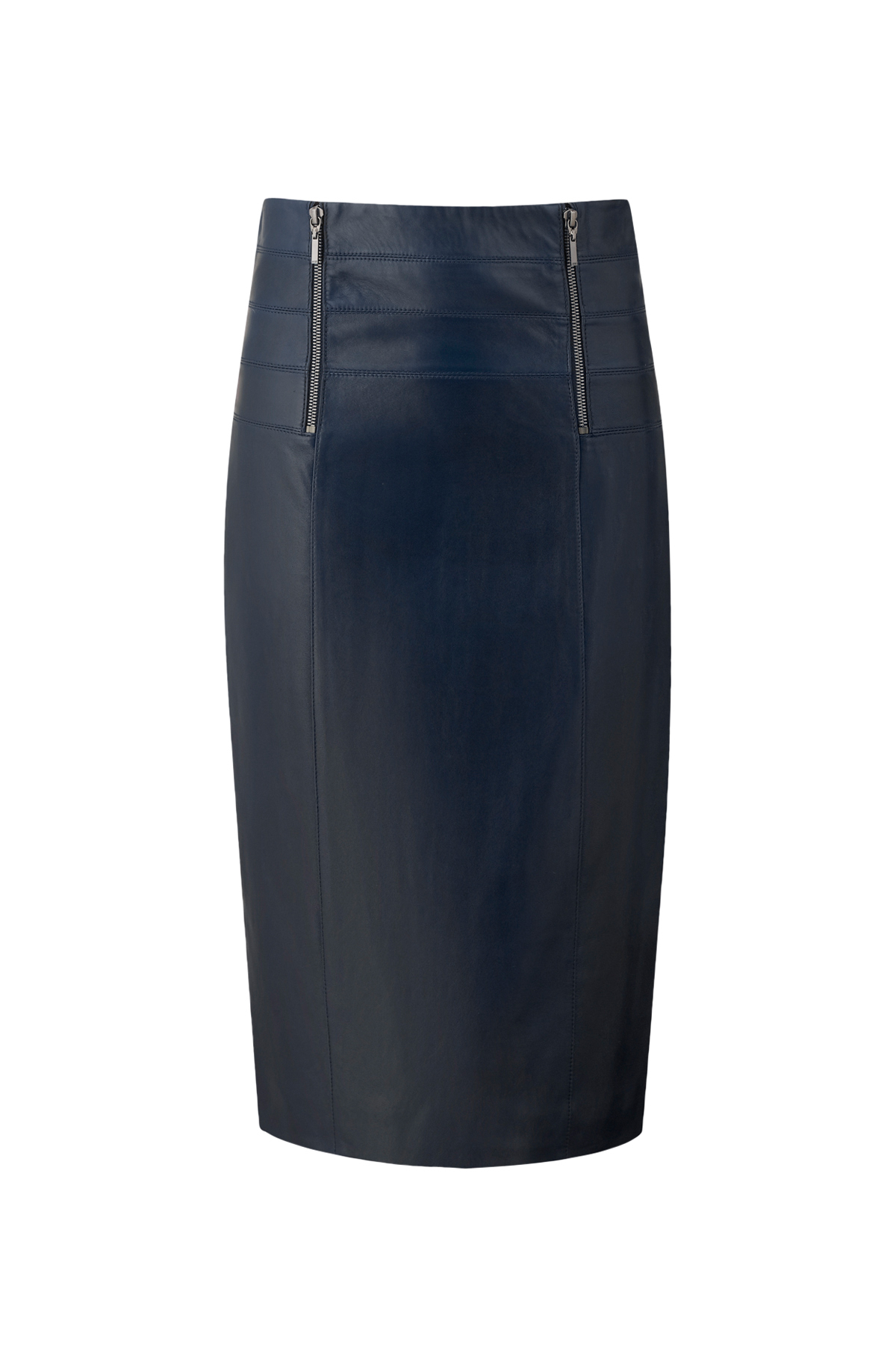 amanda wakeley pfeiffer leather pencil skirt in blue lyst