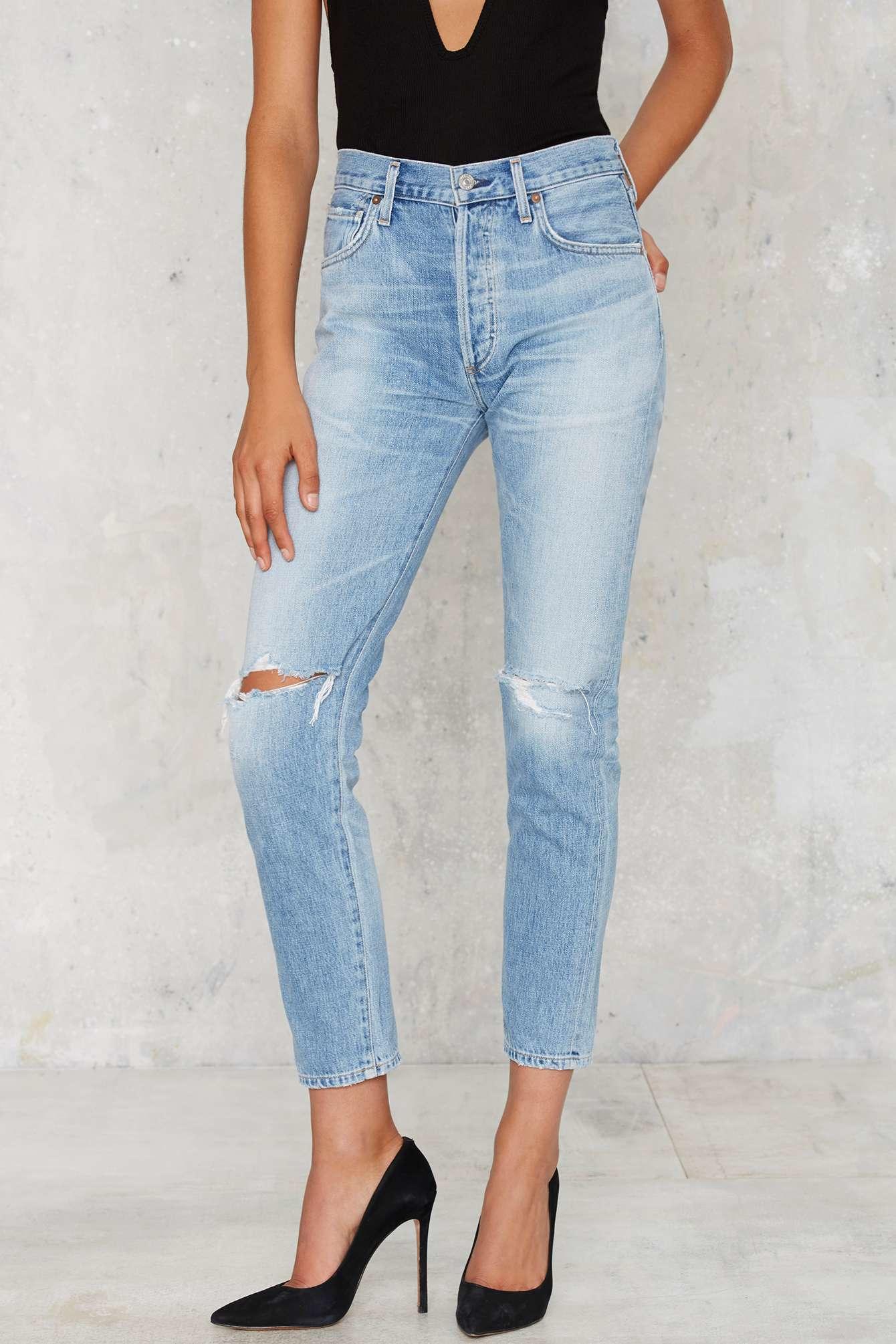 Liya Jeans High Rise Classic Fit Crop (Blau) - Damen Citizens Of Humanity BU2zp