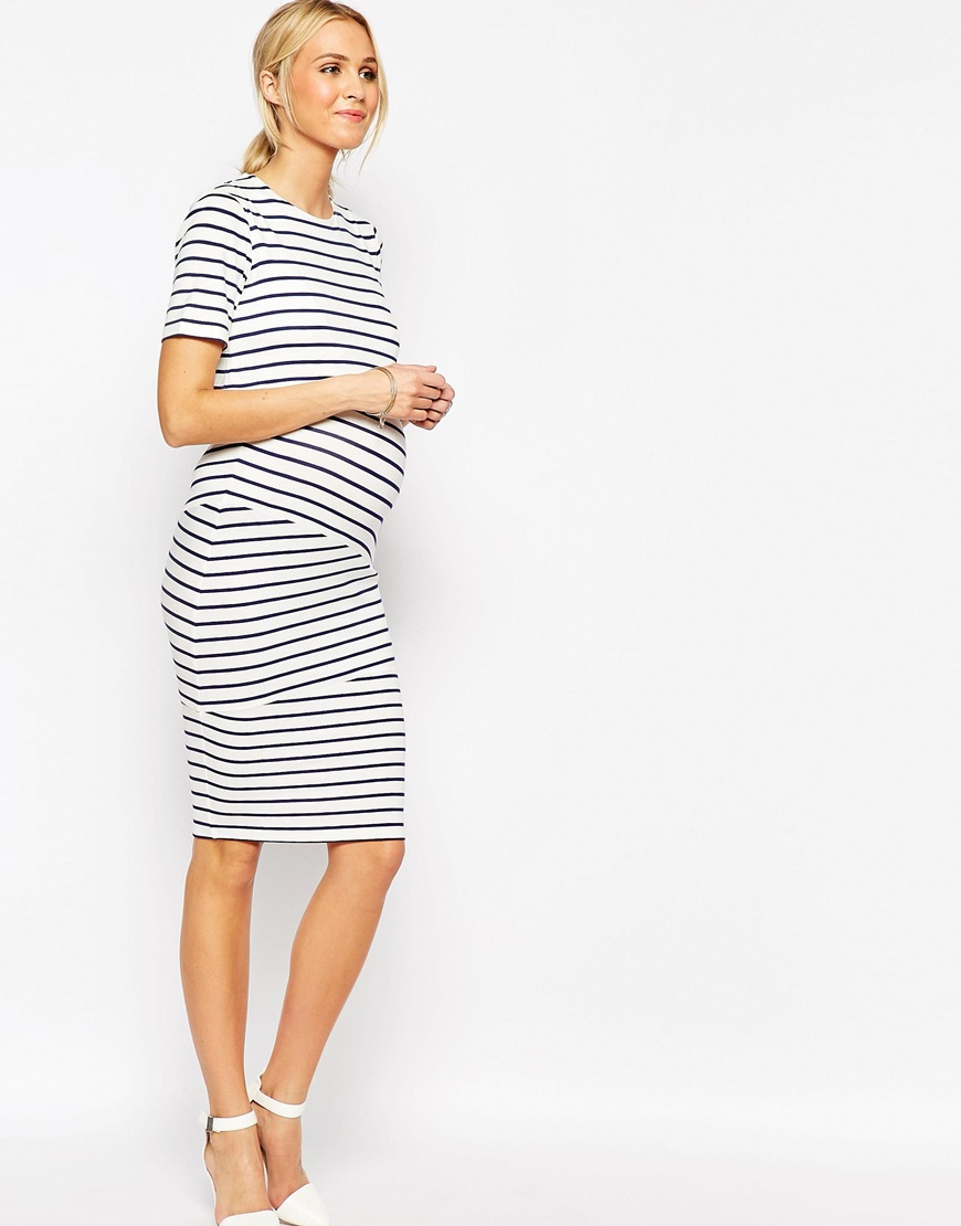 c648b0b3a50f3 Lyst - ASOS Maternity Nursing Double Layer Bodycon Dress In Stripe ...