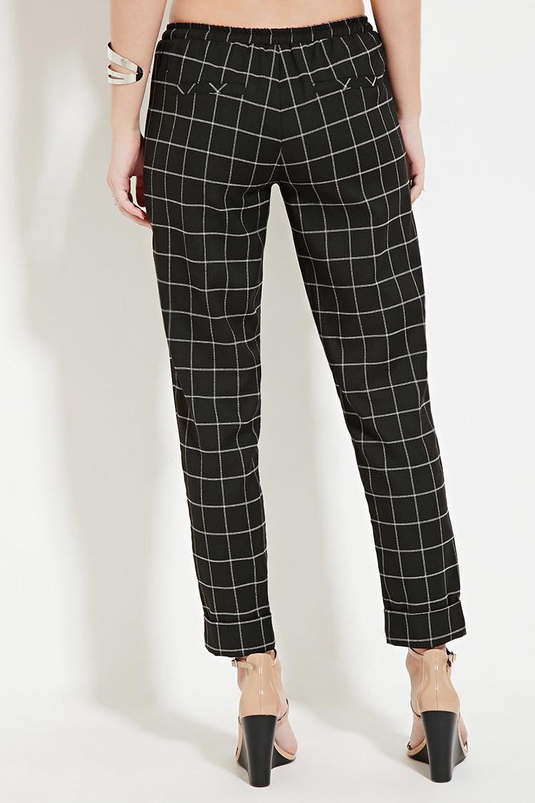 Lyst Forever 21 Drawstring Grid Patterned Pants In Black