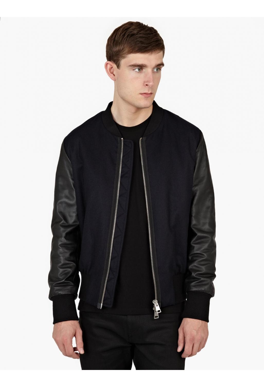 Mens black bomber jacket with leather sleeves – New Fashion Photo Blog