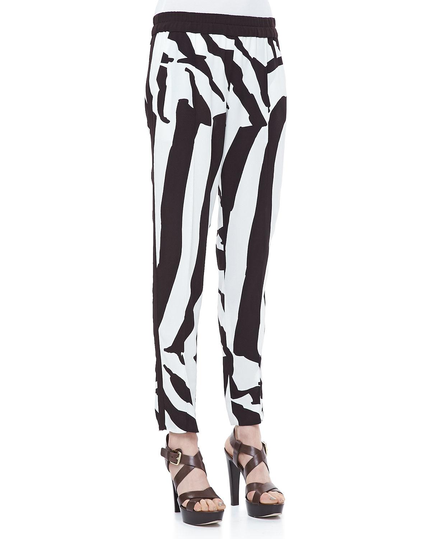 d0c653a710e1 Lyst - ESCADA Zebra-print Pull-on Pants in White