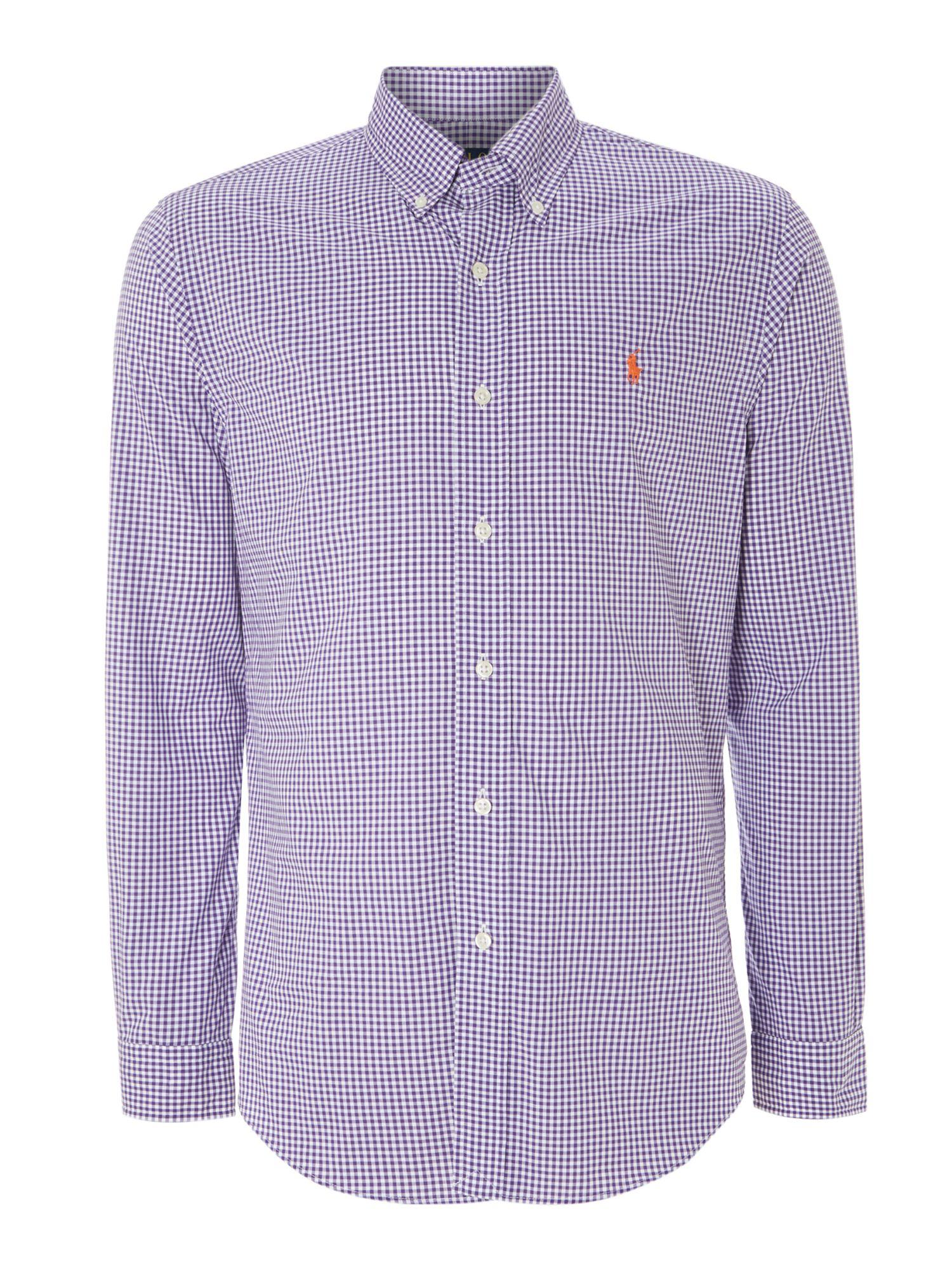 Polo ralph lauren long sleeve slim fit mini gingham shirt for Long sleeve purple polo shirt