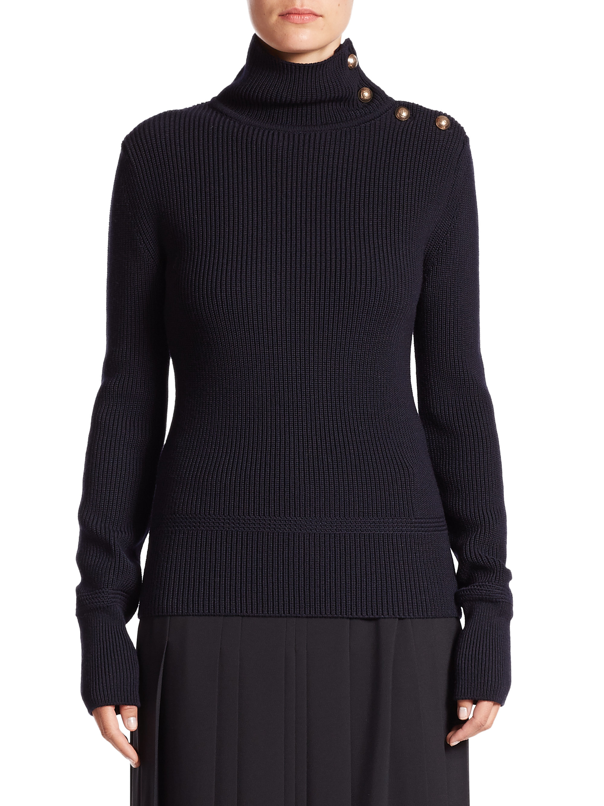 Chloé Button-up Turtleneck Sweater in Blue | Lyst