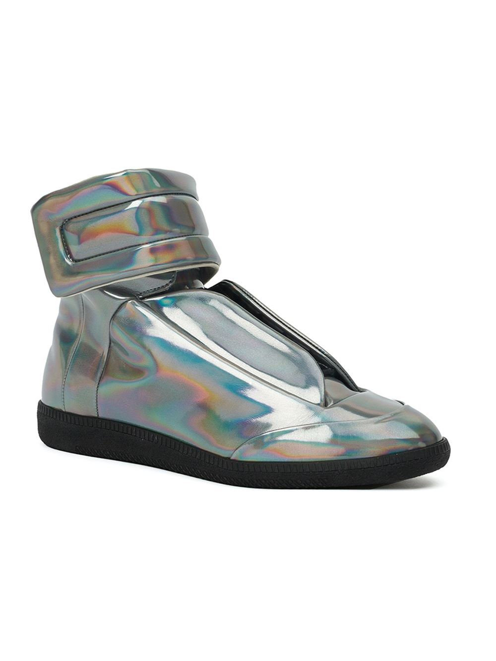 Lyst maison margiela future iridescent leather high top for Maison