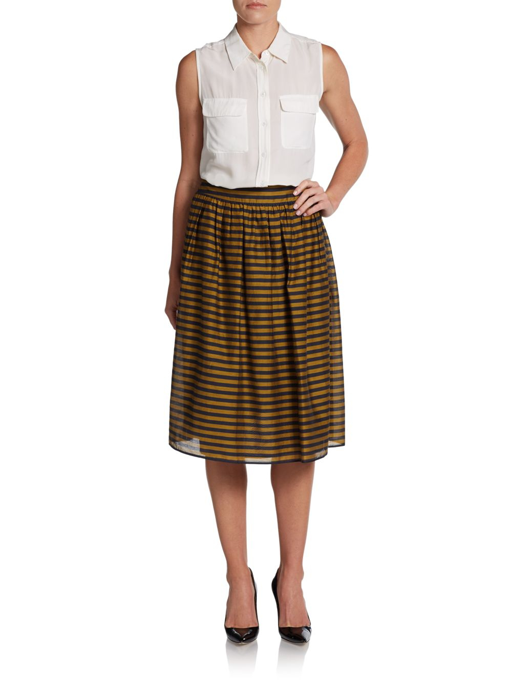 burberry cotton silk striped skirt in brown lyst