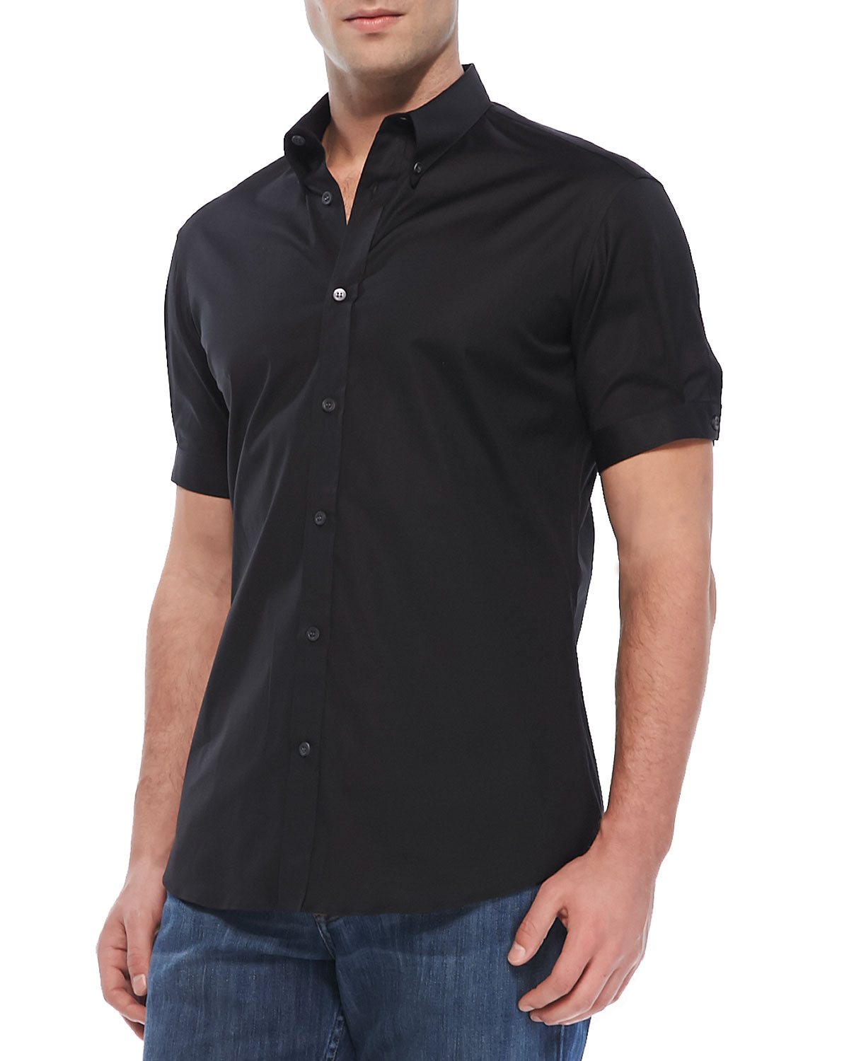 Alexander mcqueen Short-Sleeve Button-Down Shirt in Black for Men ...