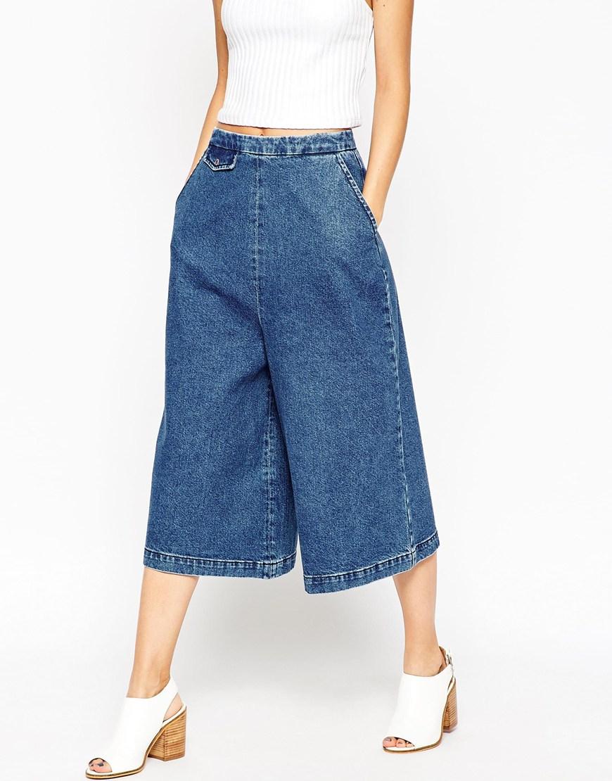 Lyst asos denim culottes with tab pocket detail in mid for Ka international tessuti arredamento
