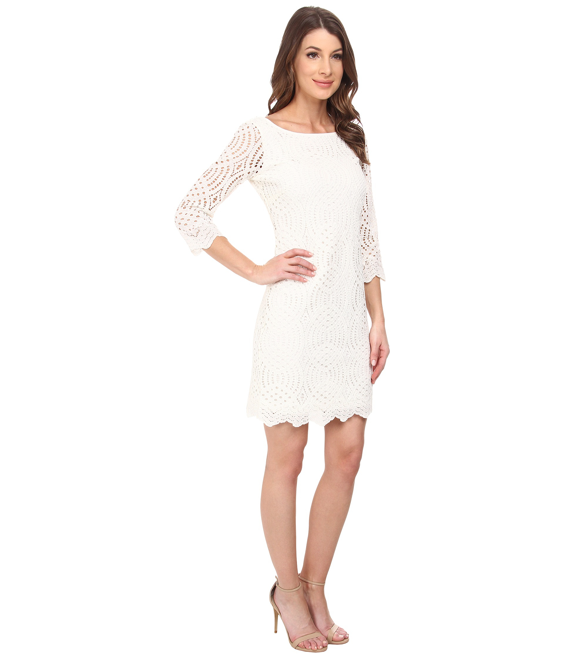 Jessica simpson 34 sleeve lace dress in white lyst gallery ombrellifo Gallery