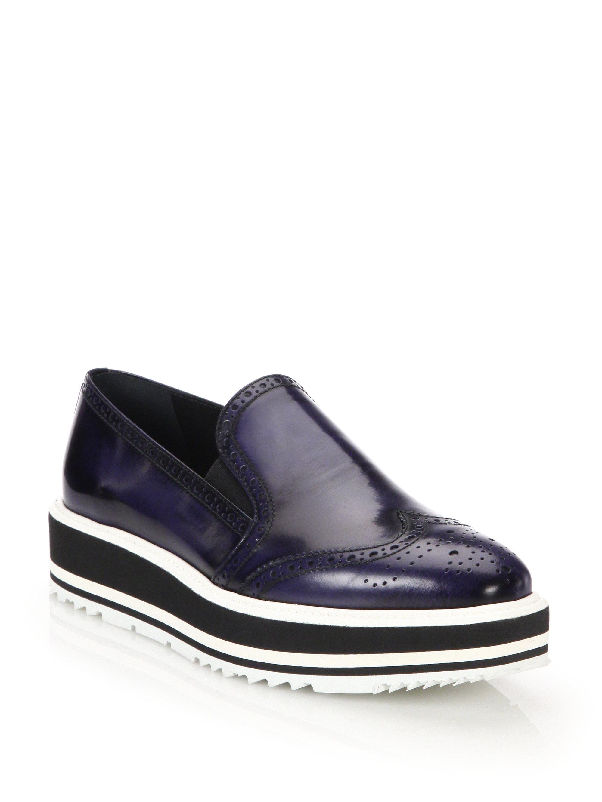 Lyst Prada Spazzolato Microsole Loafers In Black