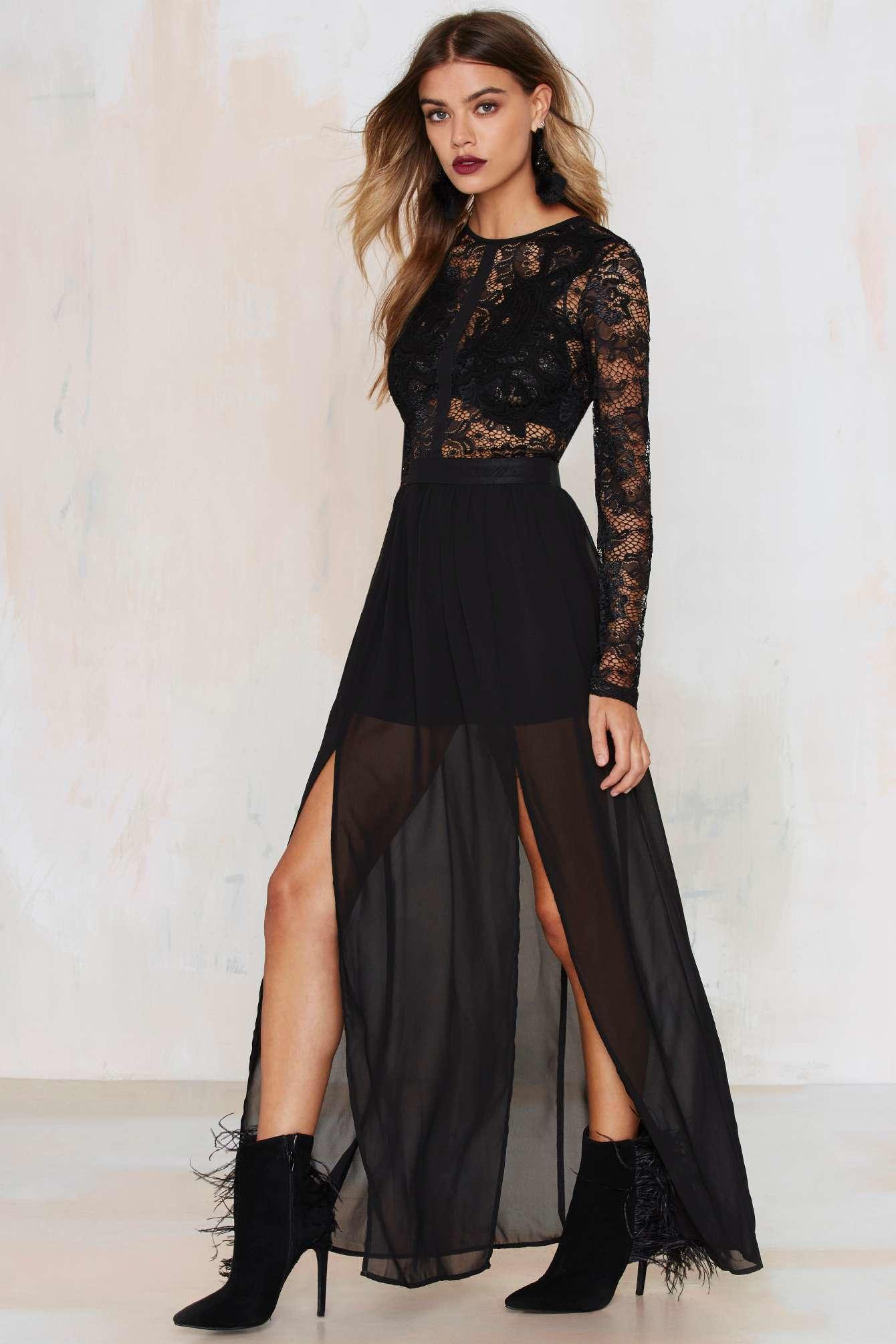 Lyst Nasty Gal Applique Mystique Lace Dress In Black