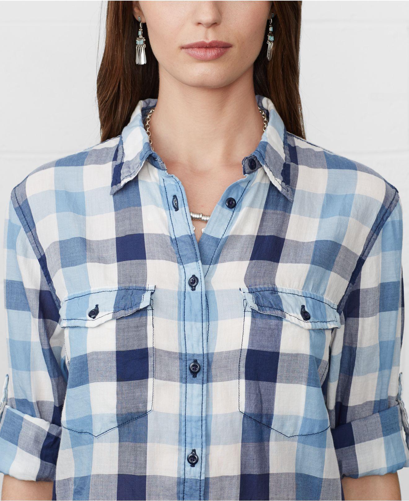 Lyst denim supply ralph lauren long sleeve plaid for Long plaid flannel shirt