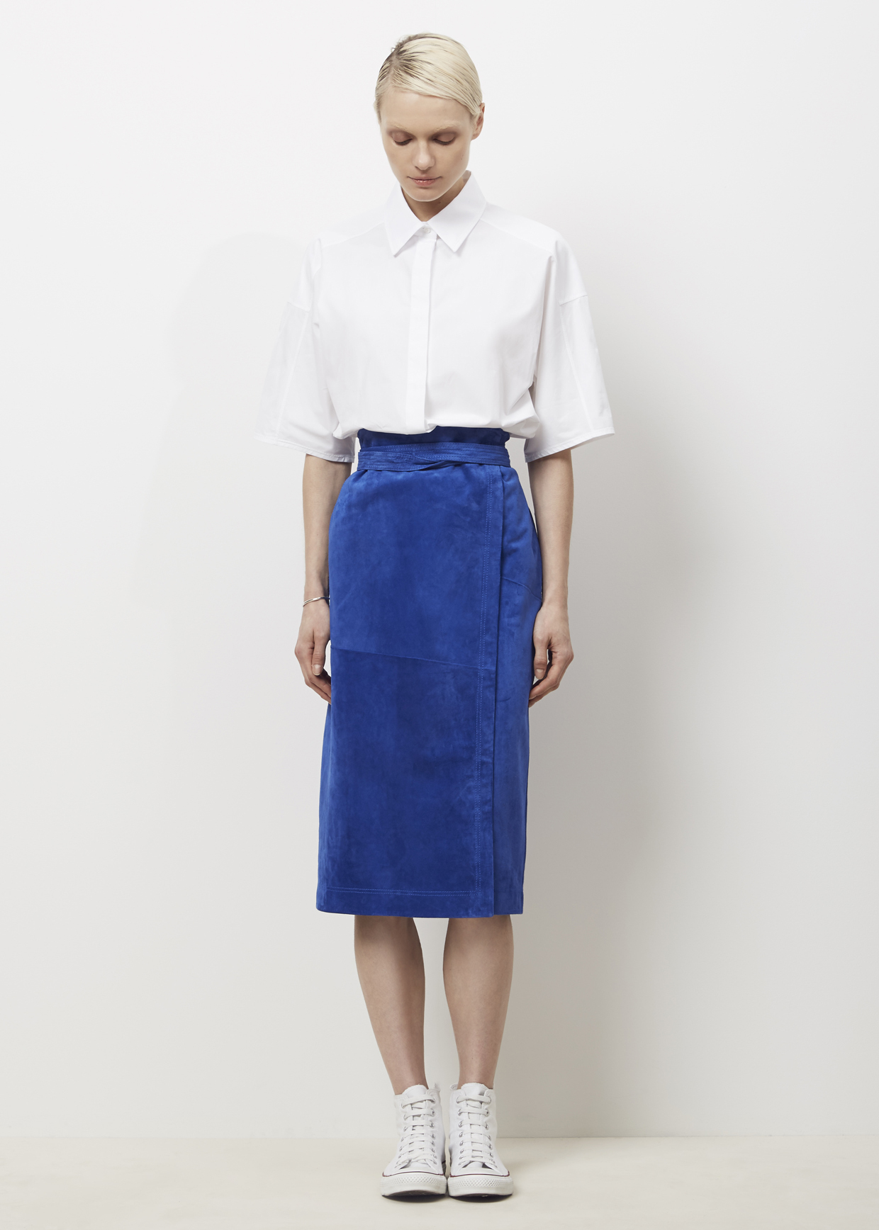 Jil sander Royal Ascerabalh Suede Skirt in Blue | Lyst