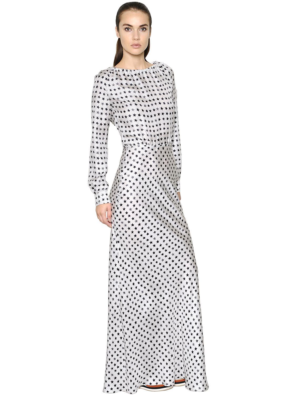 Max Mara Star Printed Silk Twill Dress In Black Lyst