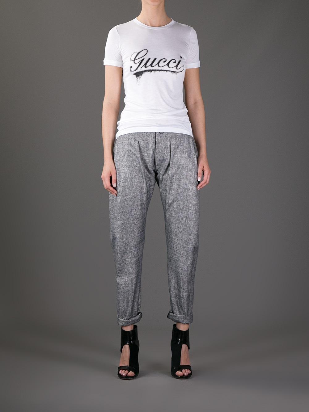 Lyst Gucci Logo Print Tshirt In Black