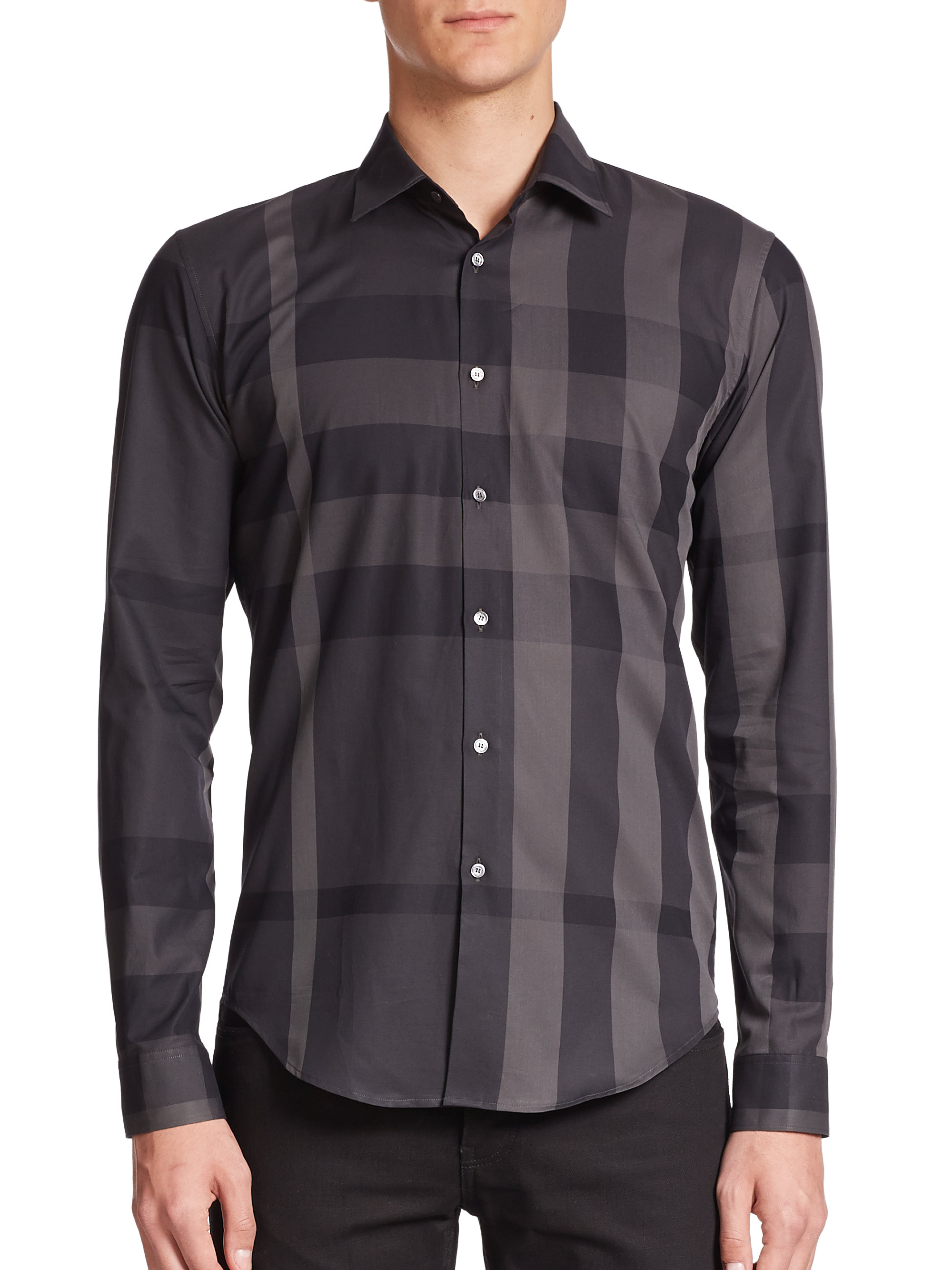 0b2bbbd72bea Burberry Southbrook Plaid Sportshirt in Gray for Men (charcoal-multi .