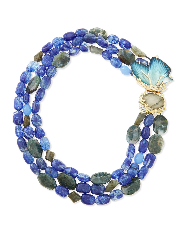 Torsade Necklace: Alexis Bittar Butterfly Torsade Necklace In Blue