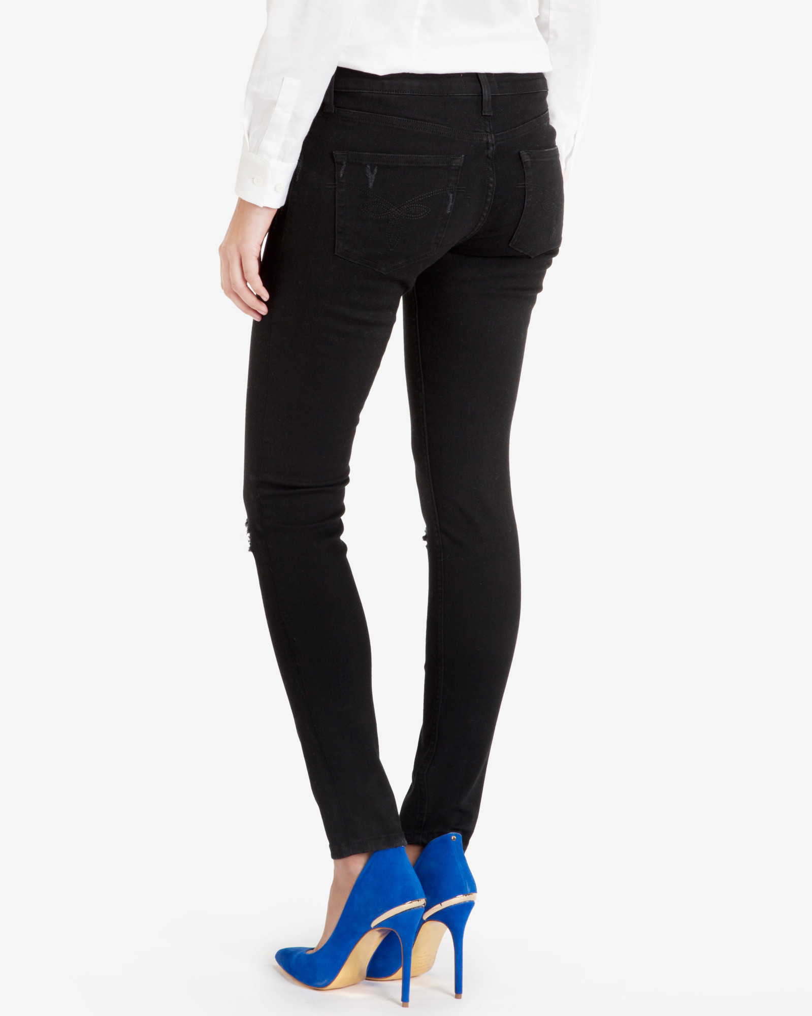 5271214b6c5d0 Lyst - Ted Baker Black Distressed Skinny Jeans in Black
