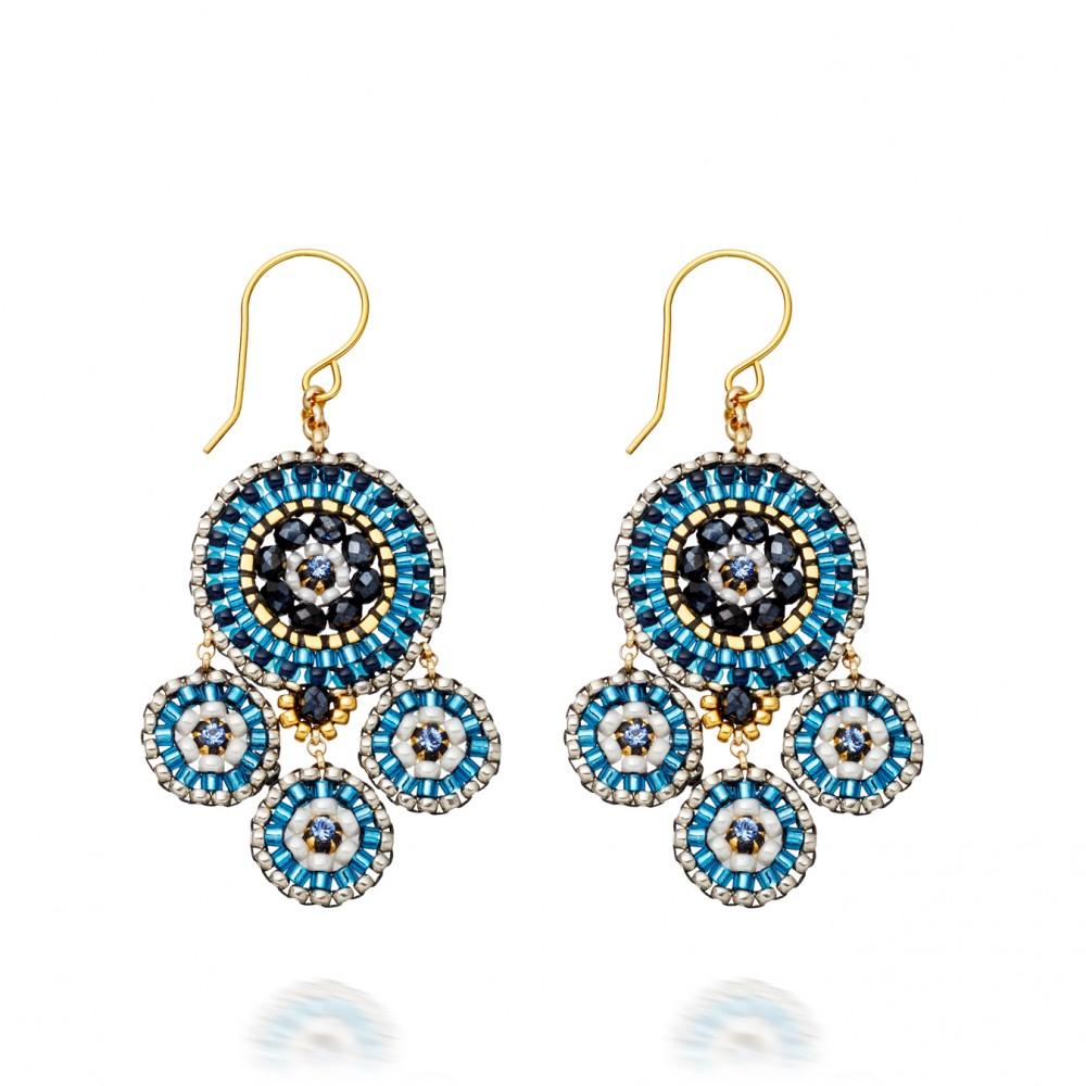Miguel Ases Blue Miyuki Bead Chandelier Earrings In Blue