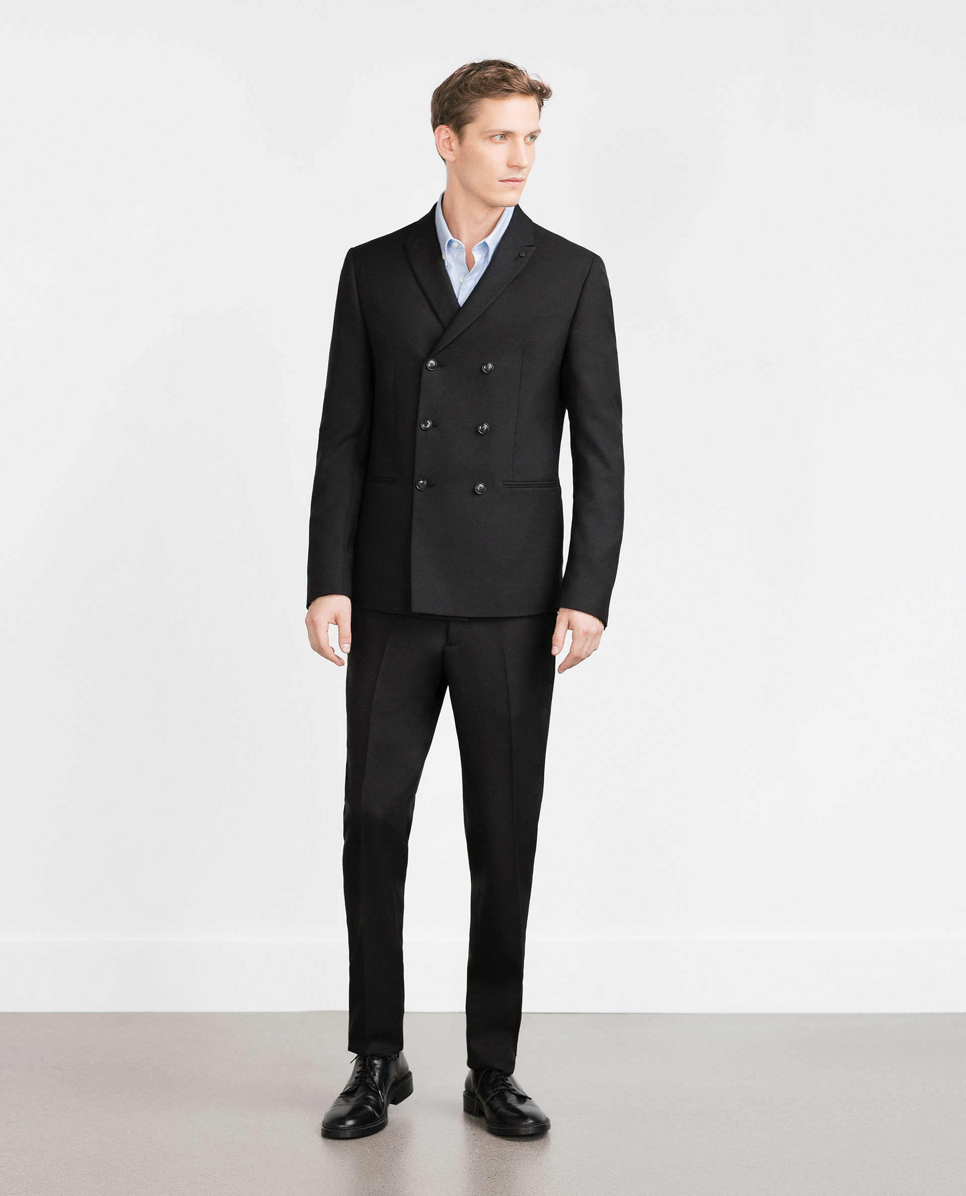 Zara Structured Double-breasted Blazer in Black for Men | Lyst