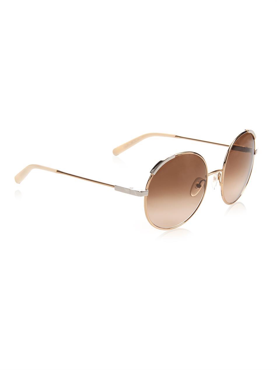 404a1c0f9f9a Lyst - Chloé Eria Round-Framed Sunglasses in Metallic