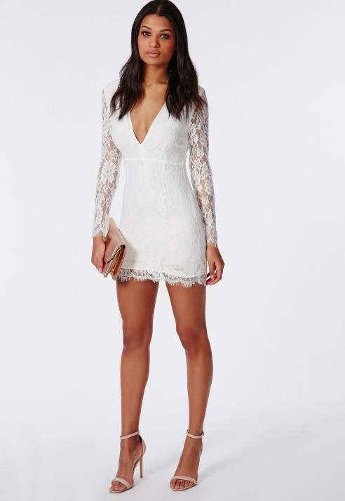 Missguided Lace Long Sleeve Bodycon Dress White in White | Lyst