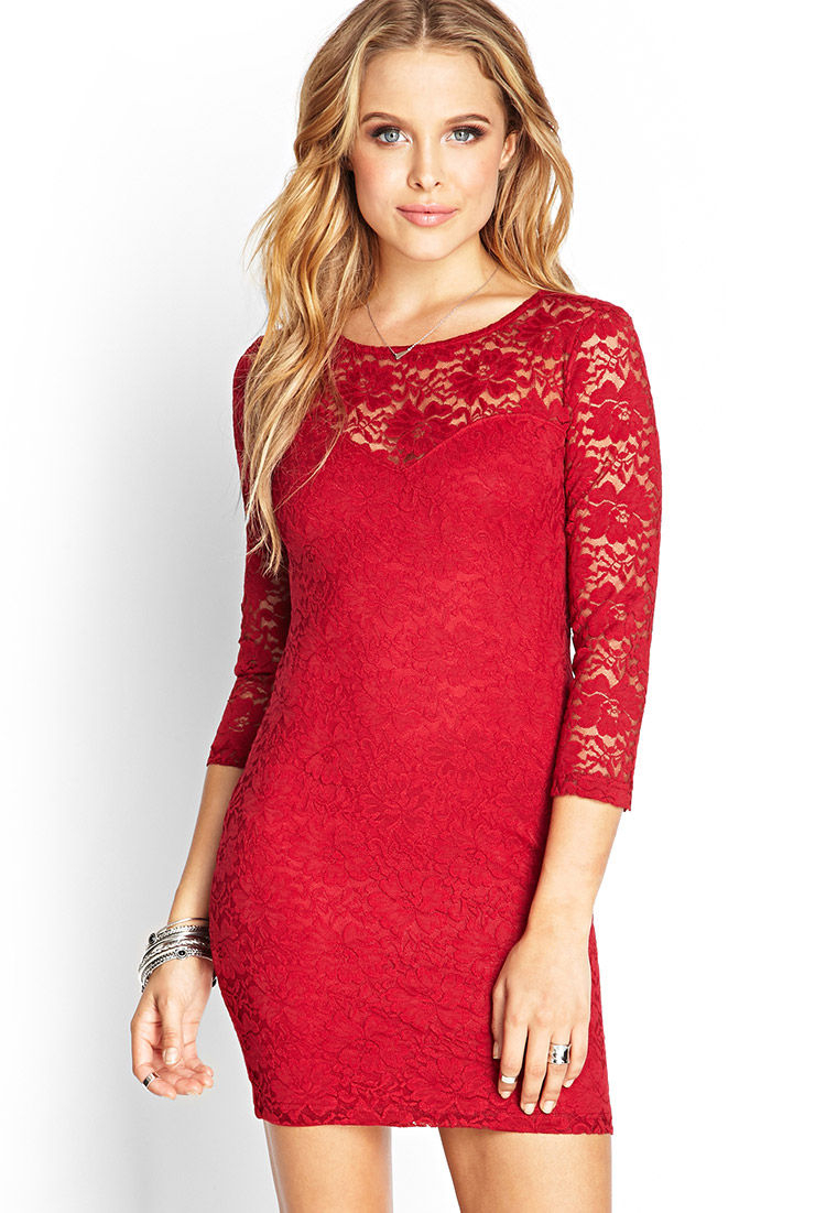 8bc2eb2854df Lace Dress Long Sleeve Forever 21 - Dress Foto and Picture