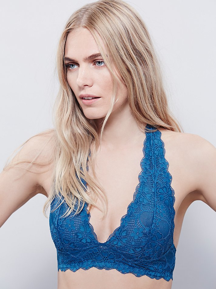 ccf0e44fa7 Lyst - Free People Galloon Lace Halter Bra in Blue