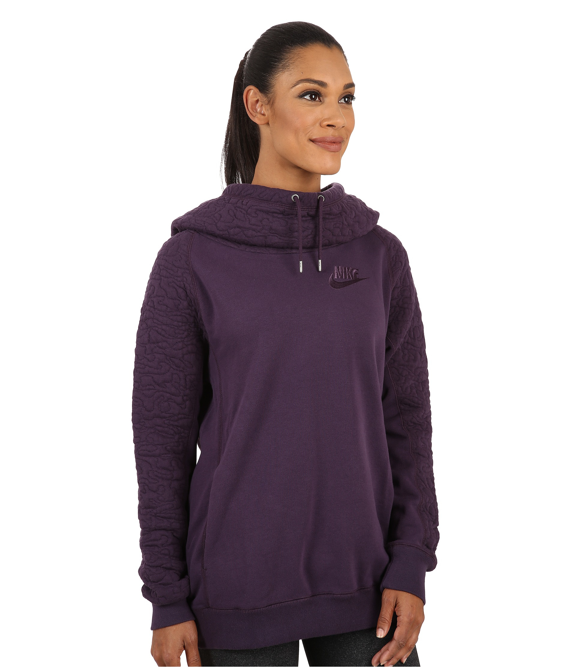 33b5f4762ce5 Lyst - Nike Quilted Rally Hoodie in Purple