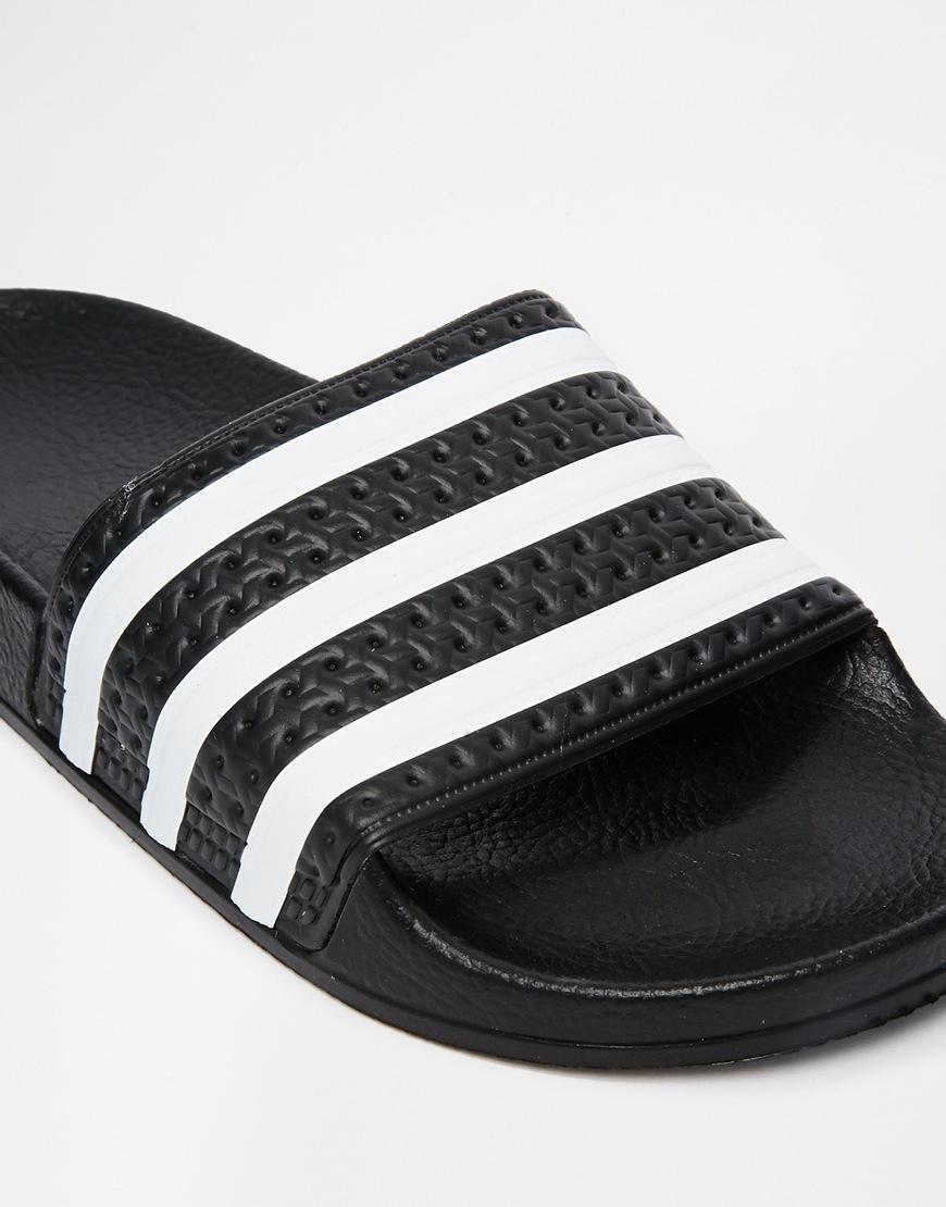 992ac9bc7 Lyst - adidas Originals Originals Adilette Black   White Stripe ...