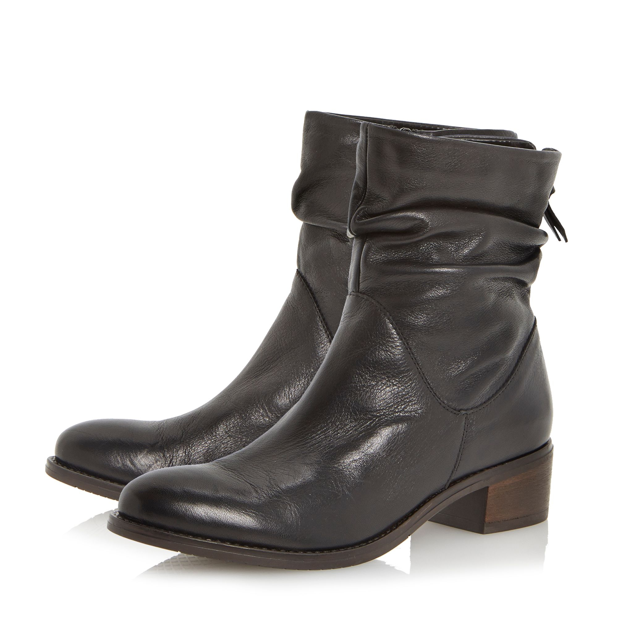 Dune Pager Slouch Leather Ankle Boot in Black   Lyst