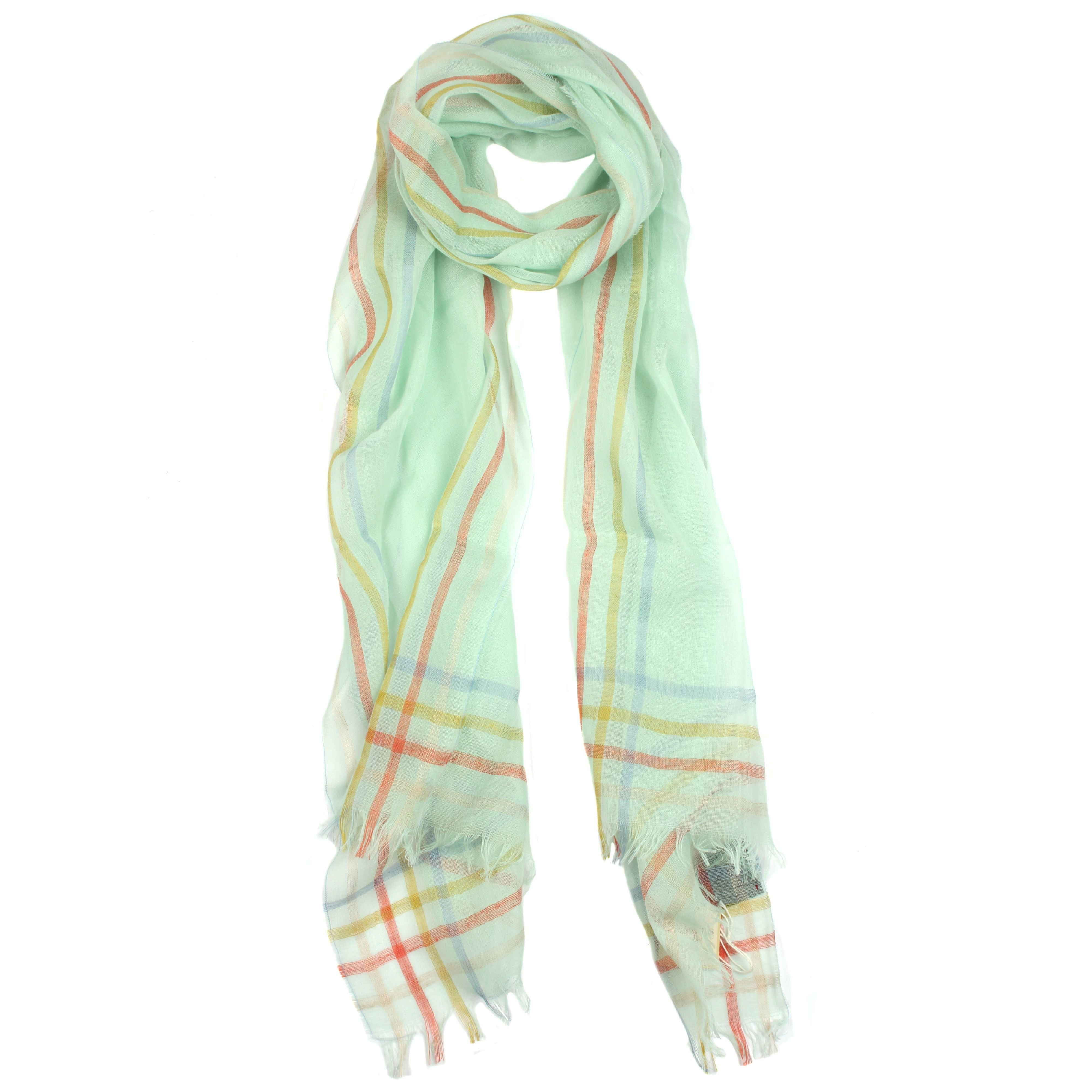 dents striped edge woven scarf in yellow lyst