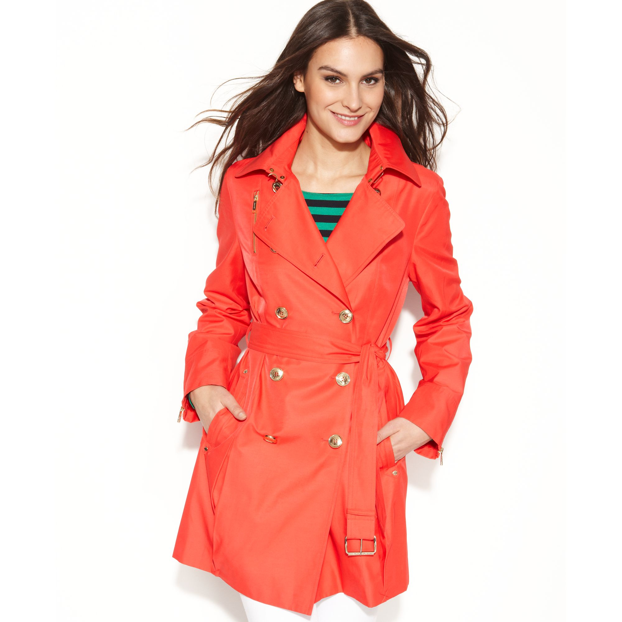 76ac7d2a7c8 Lyst - Michael Kors Michael Petite Double Breasted Belted Trench ...