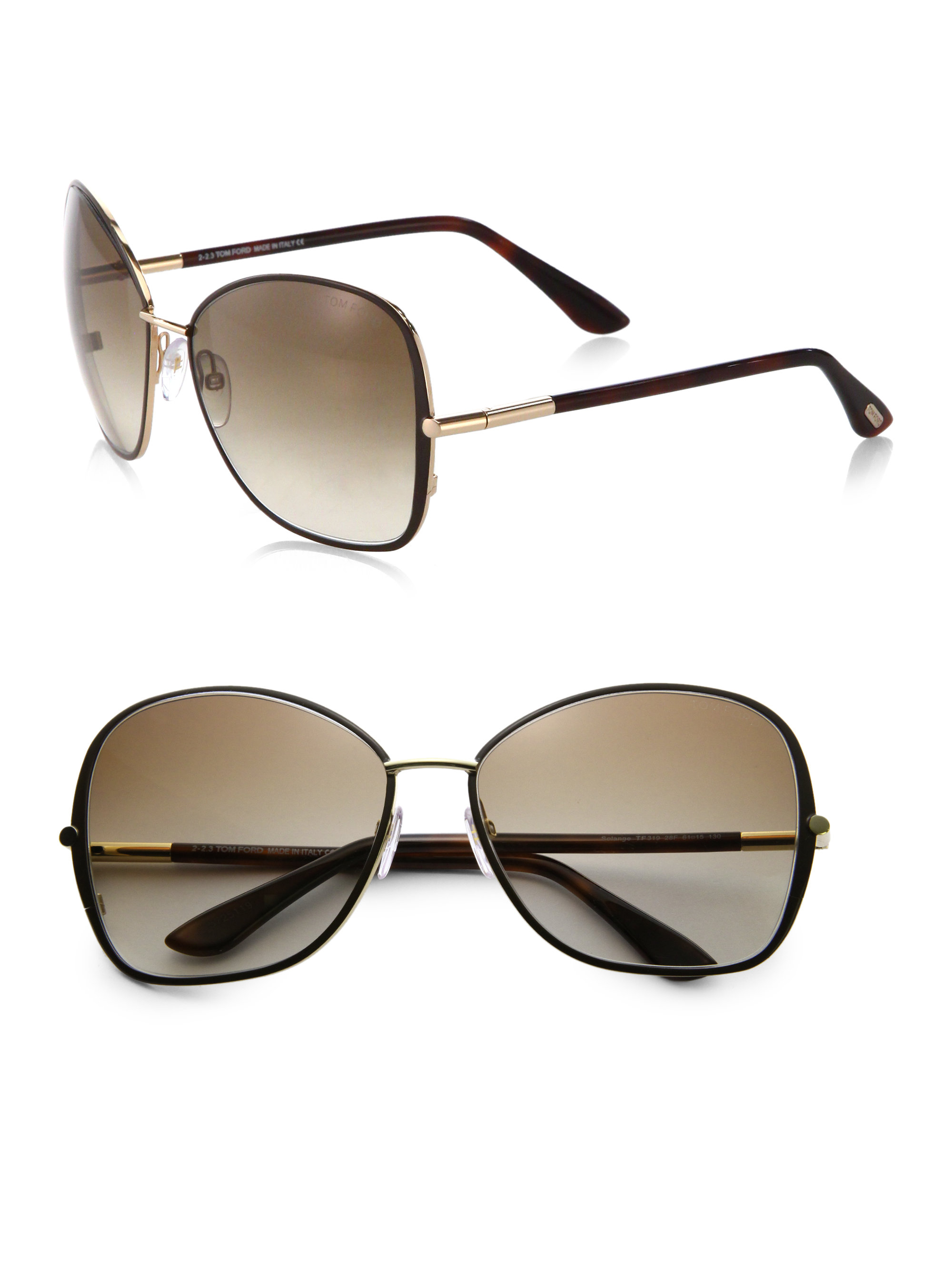 65cda967ab5 Lyst - Tom Ford Solange 61Mm Oversized Square Sunglasses in Brown
